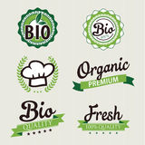Set of stickers and ribbons. Organic and bio food badge concept, vector illustration Royalty Free Stock Images