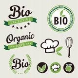 Set of stickers and ribbons. Organic and bio food badge concept, vector illustration Stock Image