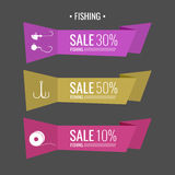 Set of  stickers for sale Fishing tackle. In flat style Fishing reels, hooks, bait. Vector elements. Icons and illustration for design, site, infographics Stock Photos