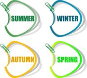 Set of stickers for seasonal collection. Spring, summer, autumn, winter stickers for seasonal collection set Royalty Free Stock Images