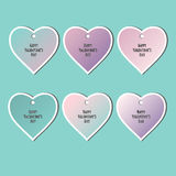 Set of stickers. Shape of hearts. Valentine`s Day Royalty Free Stock Image