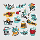 Set of stickers and signs for everyday communication Royalty Free Stock Photos