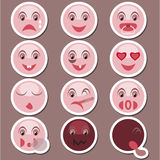 Set of stickers with smiles Royalty Free Stock Photography