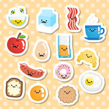 Set of stickers with smiling breakfast food Royalty Free Stock Images
