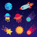 Set of stickers with space objects. Cartoon vector illustration for children. Stock Image