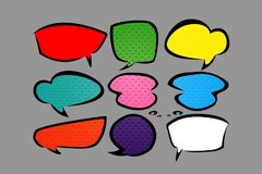 set of stickers of speech bubbles. stock illustration