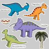 Set of stickers stylized dinosaur Royalty Free Stock Photos
