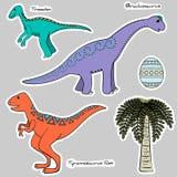 Set of stickers stylized dinosaurs, egg, tree Stock Photography