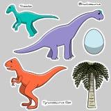 Set of stickers stylized dinosaurs, egg, tree Royalty Free Stock Photos
