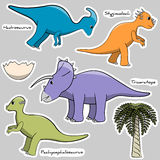Set of stickers stylized dinosaurs Stock Images