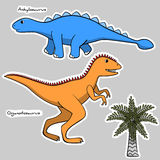 Set of stickers stylized dinosaurs and tree Royalty Free Stock Images