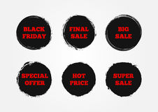 Set of stickers Super Big Final Sale, Black Friday, Hot Price, Special Offer. Painted with a rough brush. Stock Images