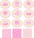 Set of stickers with a sweet Royalty Free Stock Photography