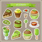Set of stickers with sweets, cakes, ice cream and cupcakes Stock Photo