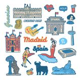 Set of stickers with symbols and landmarks of Spain