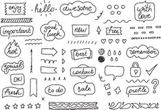 Set of stickers, tags, labels. Hand drawn design elements for your planner, organizer, journal or blog. Black and white. Stickers for your planner, journal or Royalty Free Stock Photos