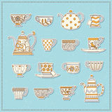Set of stickers from teacups and teapots Royalty Free Stock Images