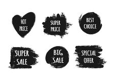 A set of stickers with the text Hot Price, Best Choice, Special Stock Photos
