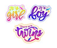 Set of stickers with text its a boy, girl, there are twins royalty free illustration