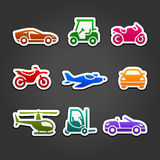 Set stickers transport color icons Royalty Free Stock Image