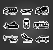 Set of stickers, transport color pictograms. Set transportation icons stickers on black background Royalty Free Stock Image