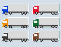 Set of stickers with truck silhouette Stock Photos