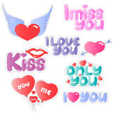 Set of stickers for Valentines Day Royalty Free Stock Images