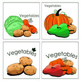 Set of stickers of vegetables in markets Stock Photography