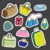 Set of stickers. Women bags. Vector Stock Images