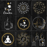 Set of stickers for yoga and health care. It can be used in the Stock Photo
