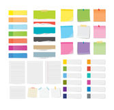 Set of sticky note and torn paper sheets background.