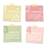 Set of sticky notes papers with flowers. Spring colors, flat design. Vector illustrations isolated on white background. Set of sticky notes papers with flowers Stock Photography