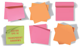Set of sticky notes. Transparent shadows. Stock Image