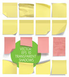 Set of sticky notes. Vector illustration with transparencies. Stock Photography