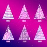 Set stilisiert Weihnachtsbäume Einfaches Formular Dreieck und Rechteck Helle Farben, Steigungshintergrund Gekritzelelemente Blaue Stockbilder