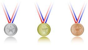 set stjärnor för medalj Royaltyfri Foto
