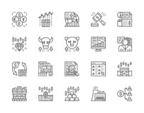 Set of Stock Market Line Icons. Bull and Bear Market, Trader, Dividend and more. royalty free illustration