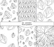 Set of stock  seamless doodle floral pattern. black and wh Royalty Free Stock Photography