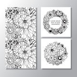 Set of stock  seamless doodle  floral pattern. orient.  Stock Images