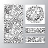 Set of stock  seamless doodle  floral pattern. orient.  Royalty Free Stock Image