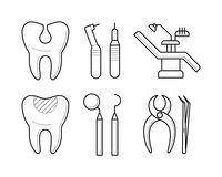 Set of stomatological elements, icons, vector illustration Royalty Free Stock Photography