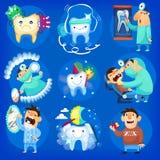Set stomatologiczne ikony ilustracji