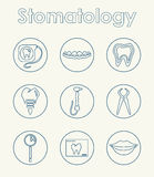 Set of stomatology simple icons Royalty Free Stock Photography