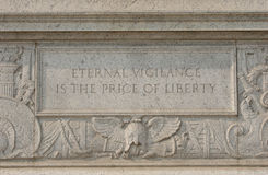 Set in stone. Reminder at the Department of Justice in Washington, DC stock photography