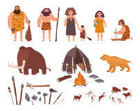 Set of Stone Age theme. Primitive people, children, mammoth, dwelling, hunting and labor tools, saber-toothed tiger. Fire, rock carvings. Colorful vector Royalty Free Stock Images
