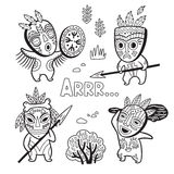 Set of stone age tribe people in masks. Coloring page Stock Photos