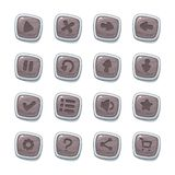 Set of 16 stone icons in white frames isolated on white background for game user interface. Mobile app vector elements template in. Cartoon style royalty free illustration