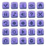 Set of stone square buttons. Vector game icons stock illustration