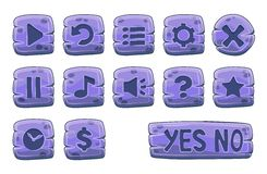 Set of stone square buttons Royalty Free Stock Images