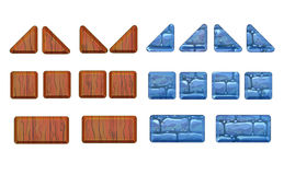 A set of stone and wood panels for the game. Stock Photography